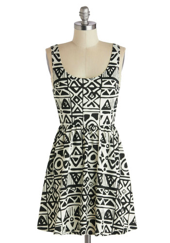 Finder's Keepers Dress - Short, Black, White, Print, Casual, A-line, Tank top (2 thick straps), Scoop, Safari, Summer