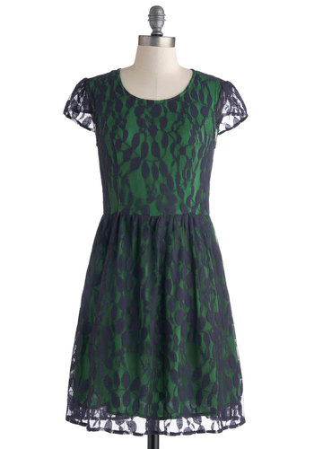 Becoming Second Nature Dress - Mid-length, Blue, Lace, Party, A-line, Cap Sleeves, Scoop, Green, Sheer, Lace