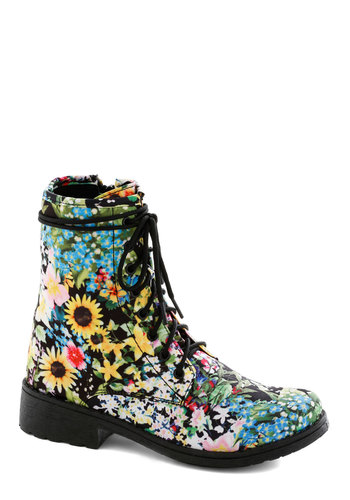 Back in Blooms Boot - Floral, Statement, Urban, Lace Up, Low, Multi, Casual, Vintage Inspired, 90s, Quirky