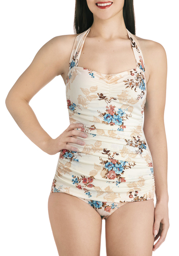 Bathing Beauty One Piece in Potpourri by Esther Williams - Cream, Multi, Floral, Ruching, Beach/Resort, Rockabilly, Pinup, Vintage Inspired, 40s, 50s, Fairytale, Halter, Summer, Exclusives, 60s