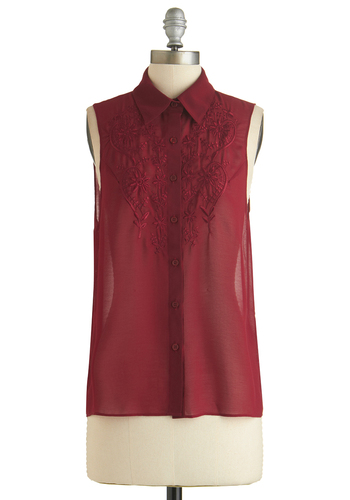 Blooming Embroidery Top - Sheer, Mid-length, Red, Solid, Buttons, Embroidery, Sleeveless, Exclusives, Red, Sleeveless
