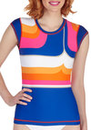 Boogie Board Nights Swim Shirt - Multi, Beach/Resort, Vintage Inspired, 60s, Neon, Short Sleeves, Mod, Summer