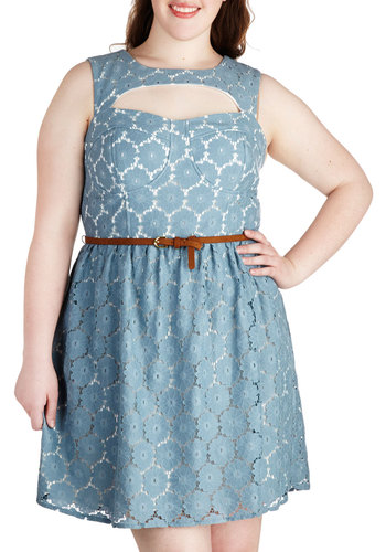 Follow the Flowers Dress in Plus Size - Blue, White, Cutout, Belted, Party, A-line, Sleeveless, Crew, Lace, Special Occasion