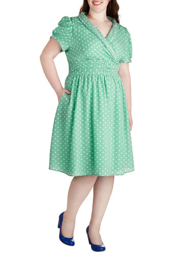 Conversation over Cocktails Dress in Mint - Plus Size - Mint, White, Polka Dots, Ruching, Empire, Short Sleeves, V Neck, Pockets, Party, Daytime Party, Vintage Inspired, Pastel, Variation, Exclusives