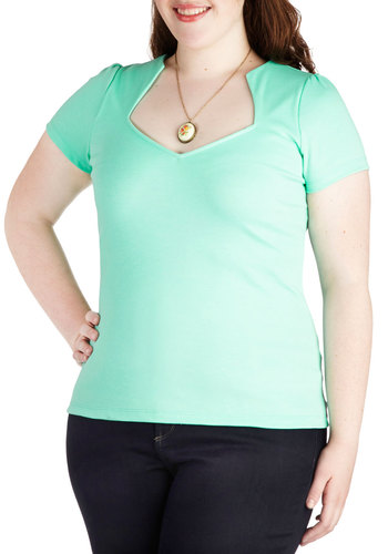 Ooh La La Lady Top in Mint - Plus Size - Mint, Solid, Casual, Short Sleeves, Variation
