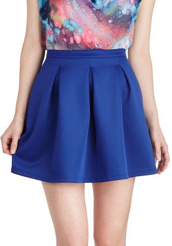 Daily Dynamo Skirt in Bluebell - Short, Blue, Solid, Pleats, Pockets, Casual, Daytime Party, Exclusives, Variation, Ballerina / Tutu, Blue