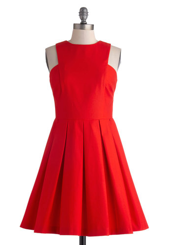 My Heart Skips a Pleat Dress by BB Dakota - Cotton, Mid-length, Red, Solid, Pleats, Party, A-line, Sleeveless, Crew, Wedding, Cocktail, Bridesmaid, Valentine's