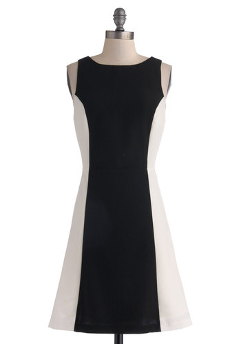 Cue the Contemporary Dress by BB Dakota - Mid-length, Black, Cutout, Party, A-line, Sleeveless, Boat, White, Work, Colorblocking, Mod