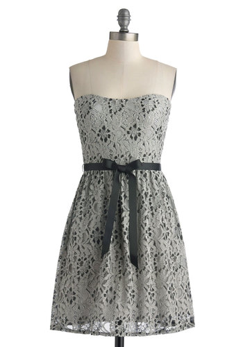 Silver Moon Swoon Dress - Short, Grey, Black, Lace, Party, Strapless, Sweetheart, Belted, Wedding, Cocktail, A-line