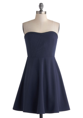 All It Takes Dress - Blue, Solid, Strapless, Sweetheart, Party, A-line, Mid-length