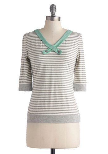 Afternoon Art Class Top - Grey, White, Stripes, Nautical, 3/4 Sleeve, Mid-length, Mint, Buttons, Casual, V Neck, Grey, 3/4 Sleeve