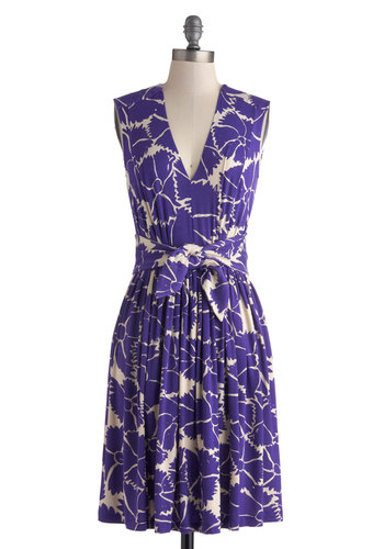 Plenty by Tracy Reese Violets are Blooming Dress by Plenty by Tracy Reese - Mid-length, Purple, White, Floral, Belted, A-line, Sleeveless, V Neck, Pockets, Daytime Party, Casual