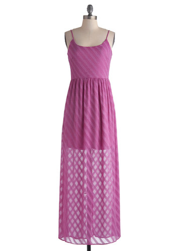 Artisanal Arrangements Dress - Long, Pink, Solid, Casual, Maxi, Spaghetti Straps, Scoop, Daytime Party, Beach/Resort, Summer, Sheer