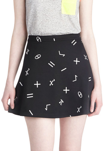 Critical Math Skirt - Short, Black, White, Novelty Print, Scholastic/Collegiate, Mini