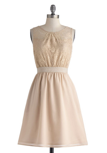 Sophisticated Patron Dress - Mid-length, Tan, Solid, Backless, Pockets, Party, A-line, Sleeveless, Lace, Sheer