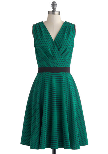 Clubhouse Soda Dress - Green, Black, Stripes, Party, A-line, Sleeveless, V Neck, Mid-length, Knit