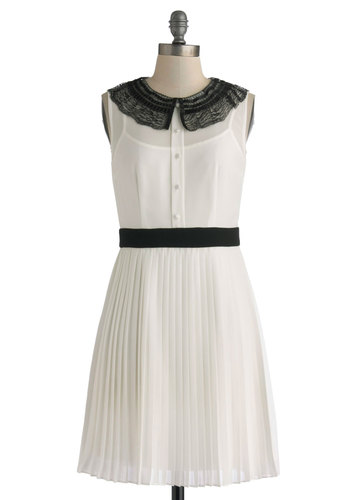 Classical Theory Dress - Sheer, Mid-length, White, Black, Buttons, Lace, Party, A-line, Sleeveless, Collared, Solid, Peter Pan Collar, Pleats, Daytime Party, Vintage Inspired
