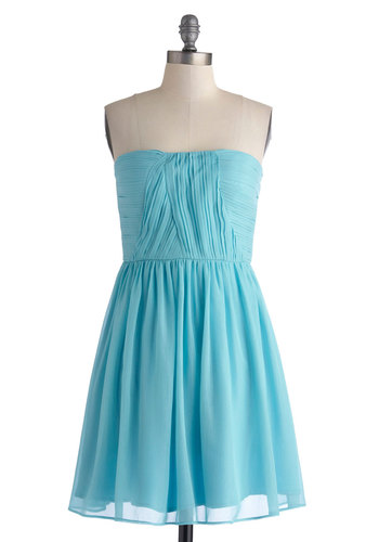 Sparkling Water Dress - Short, Blue, Solid, Pleats, Party, Strapless, Sweetheart, Bridesmaid, A-line, Spring, Summer, Chiffon