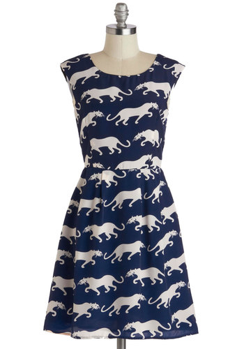 Paws a Commotion Dress - Mid-length, Blue, White, Print with Animals, Casual, A-line, Sleeveless, Scoop, Party, Press Placement