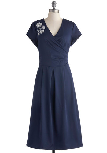 Demure All I Want Dress in Navy - Blue, Solid, Embroidery, Party, A-line, Short Sleeves, V Neck, Long, Knit, White, Pleats