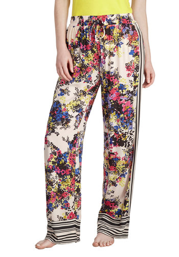 Relaxing Radiance Lounge Pants by Kensie - Stripes, Floral, Casual, Multi, Tan / Cream, Black