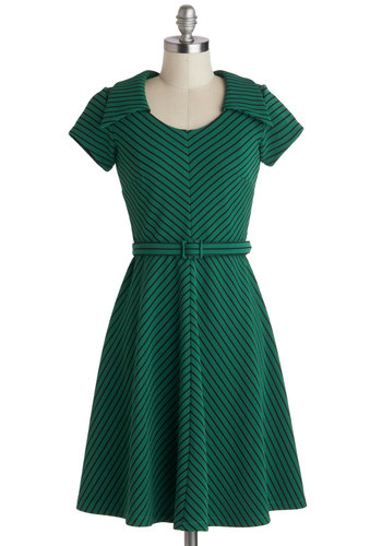 To a Tee Time Dress in Green by Myrtlewood - Green, Black, Stripes, Belted, Casual, A-line, Short Sleeves, Collared, Mid-Century, Exclusives, Woven, Mid-length, Private Label