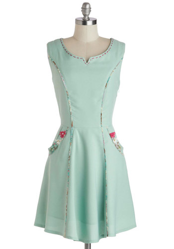 Before and Aster Dress by Nick & Mo - Pastel, Flower, Pockets, Mint, Multi, Trim, A-line, Sleeveless, Mid-length, Daytime Party, Graduation