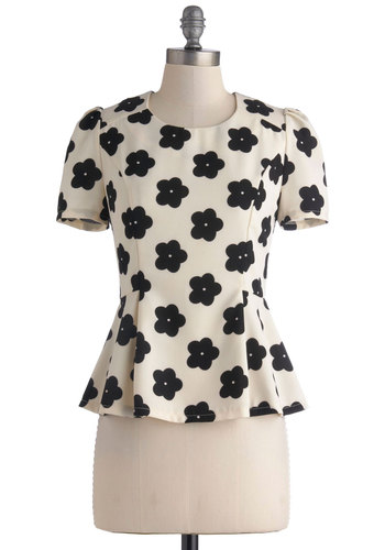 Market My Words Top - Cream, Black, Floral, Peplum, Short Sleeves, Mid-length, Work, Summer, White, Short Sleeve
