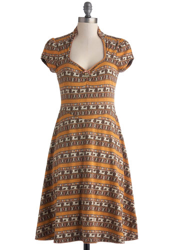 Sew Far So Good Dress by Blutsgeschwister - Yellow, Brown, Novelty Print, Casual, A-line, Cap Sleeves, Multi, Tan / Cream, Long, Jersey, Cotton, Knit, Folk Art