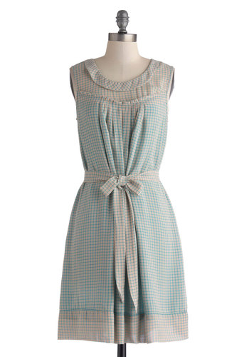 Plaid Plotline Dress - Mid-length, Blue, Tan / Cream, Ruffles, Belted, Casual, A-line, Sleeveless, Scoop, Plaid
