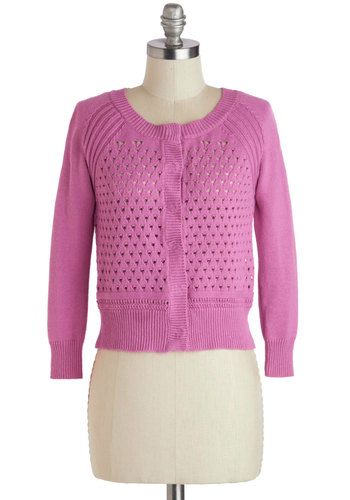 New Orchid on the Block Cardigan - Pink, Solid, Buttons, Long Sleeve, Cotton, Sheer, Short, Knitted, Work, Knit