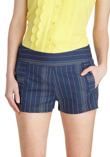 Cute Along the Dotted Line Shorts by Tulle Clothing - Blue, Orange, Yellow, Green, Stripes, Casual, Short, Cotton, Embroidery