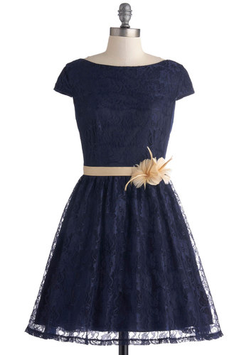 Fete for Royalty Dress - Blue, Flower, Belted, Party, Fit & Flare, Cap Sleeves, Boat, Lace, Special Occasion