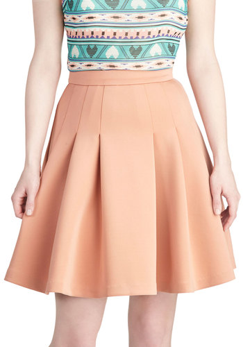 Peach and Every Day Skirt - Solid, Pleats, Work, Daytime Party, Pastel, Orange, Ballerina / Tutu, Short, Orange