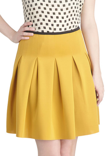 Working Order Skirt in Mustard - Short, Yellow, Solid, Pleats, Work, Scholastic/Collegiate, Variation, Basic, Ballerina / Tutu, Yellow