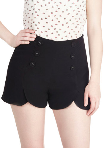 Sailor Squad Shorts in Black - Black, Solid, Buttons, Casual, Daytime Party, Nautical, Pinup, Vintage Inspired, 40s, 50s, 60s, Summer, Variation, Scallops, High Waist, Good, High Rise, Black, Non-Denim, Short, Beach/Resort