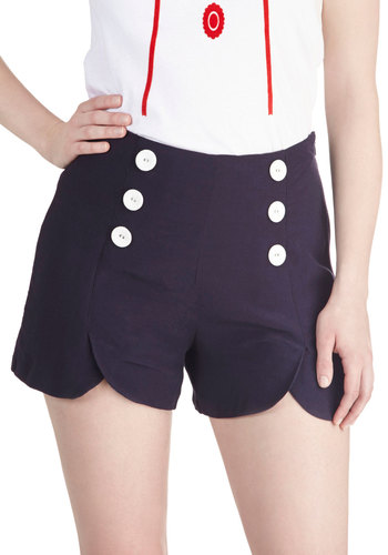 Sailor Squad Shorts in Navy - Blue, White, Solid, Buttons, Casual, Nautical, Pinup, Vintage Inspired, 40s, 50s, 60s, Summer, Variation