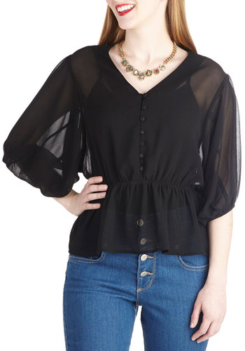 Lovely, Always Top in Black - Mid-length, Black, Solid, Buttons, Work, Daytime Party, Vintage Inspired, Short Sleeves, Sheer, Variation, V Neck, Black, Short Sleeve