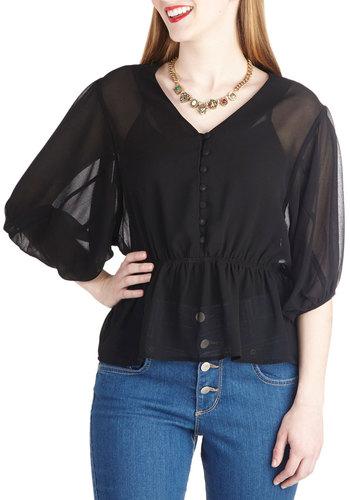 Lovely, Always Top in Black - Mid-length, Black, Solid, Buttons, Work, Daytime Party, Vintage Inspired, Short Sleeves, Sheer, Variation, V Neck, Black, Short Sleeve