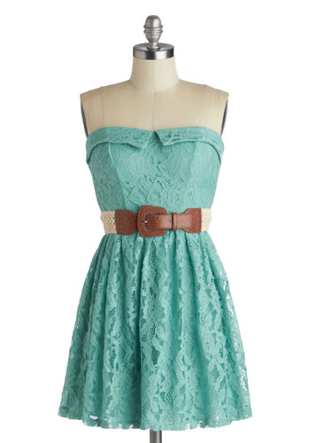 Dream de Menthe Dress - Solid, Lace, Casual, A-line, Strapless, Sweetheart, Mint, Belted
