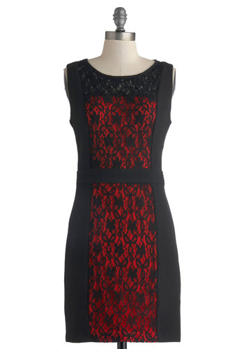 Sassy and You Know It Dress - Black, Red, Lace, Cocktail, Sheath / Shift, Tank top (2 thick straps), Sheer, Mid-length