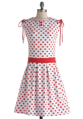 Styled with a Kiss Dress - Novelty Print, Eco-Friendly, A-line, Mid-length, Red, Bows, Buttons, Casual, Sleeveless, Crew, Pleats, White