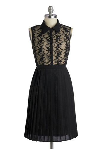 How Noir You? Dress - Long, Black, Tan / Cream, Buttons, Embroidery, Lace, Party, Shirt Dress, Sleeveless, Collared, Print, Pleats, Film Noir, Vintage Inspired, A-line