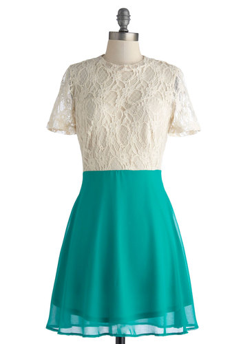 Performer Par Excelence Dress - Mid-length, Green, Tan / Cream, Lace, Party, A-line, Short Sleeves, Crew