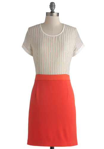 Milkshake to Go Dress - Mid-length, Orange, White, Work, Shift, Short Sleeves, Scoop, Solid, Stripes, Twofer