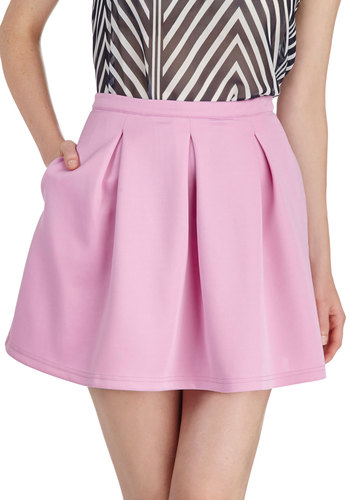 Daily Dynamo Skirt in Peony - Short, Pink, Solid, Pleats, Pastel, A-line, Mini, Pockets, Casual, Daytime Party, Exclusives, Variation