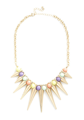 Festive Things First Necklace - Multi, Gold, Solid, Beads, Pastel, Statement