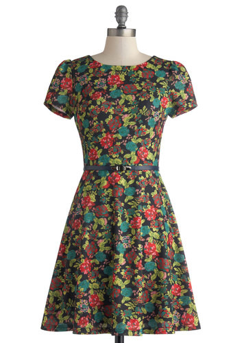 Essential Herbs Dress - Mid-length, Black, Multi, Floral, Belted, Party, A-line, Short Sleeves, Scoop, Work