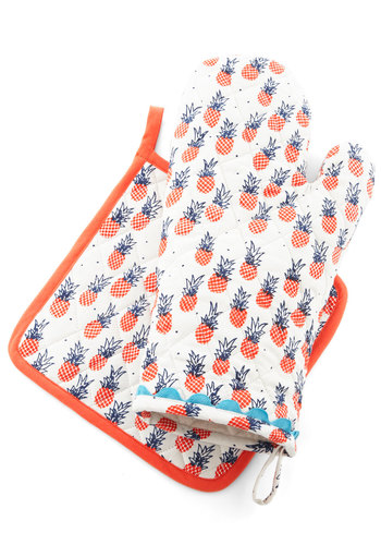 Tropic Like It's Hot Oven Mitt and Potholder - Cotton, Fruits, Orange, Blue, White, Novelty Print, Good