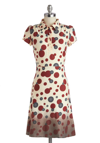 An Orbit of Her Own Dress - Mid-length, Cream, Red, Grey, Polka Dots, Buttons, Casual, Shift, Cap Sleeves, Collared